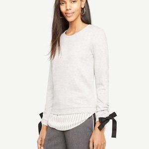 Ann Taylor Petite Tie Sleeve Grey Sweatshirt